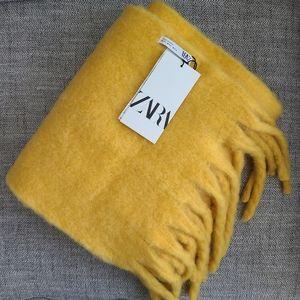 Zara marigold yellow blanket fringe scarf